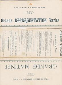 cirque Toscan Frediani Programme circa 1903 avec Rosa Bassi