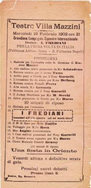 Programme Frediani 1902 avec Miss Rosa (Bassi)