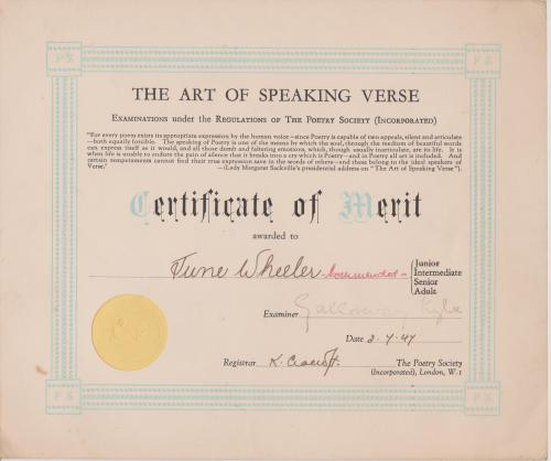 The art speaking verse  certificat of merit delivered by the poetry society